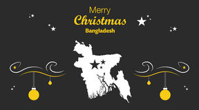 Thème de Joyeux Noël avec la carte du Bangladesh Photos stock
