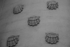Thème de marine de texture de mur de fond de coquillage images libres de droits