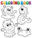 Thème 3 de monstre de livre de coloriage Photographie stock libre de droits