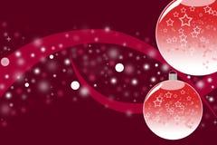 Thème de Noël avec les boules en verre rouges d'ornement Image libre de droits