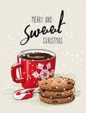Thème de Noël, tasse de café rouge avec le ruban rouge et pile de biscuits une canne de sucrerie, illustration Photo stock