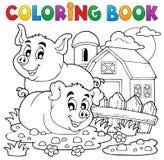 Thème 2 de porc de livre de coloriage Images libres de droits