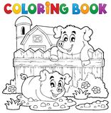 Thème 3 de porc de livre de coloriage Photo stock