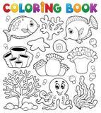 Thème 2 de récif coralien de livre de coloriage Photo stock