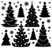 Thème 1 de silhouette d'arbre de Noël Image stock