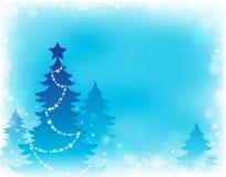Thème 2 de silhouette d'arbre de Noël Images stock