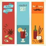 Thème de vin chaud, ensemble de bannières verticales Dirigez l'illustration, EPS10 illustration stock
