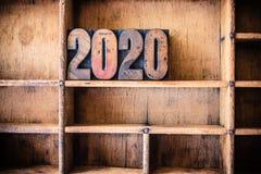 Thème 2020 en bois d'impression typographique de concept Image stock