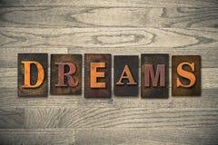 Thème en bois d'impression typographique de rêves Images libres de droits