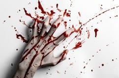 Thème ensanglanté de Halloween : la copie ensanglantée de main sur un blanc laisse le mur ensanglanté Images libres de droits