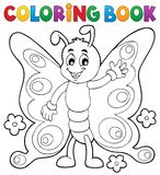 Thème gai 1 de papillon de livre de coloriage illustration de vecteur