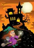Thème hanté de Halloween de manoir illustration de vecteur