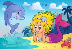 Thème heureux 4 de sirène illustration stock