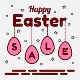 Thème heureux de vente de Pâques Pendants des oeufs roses avec des lettres Étoiles et sucrerie à l'arrière-plan Peut être employé Images stock