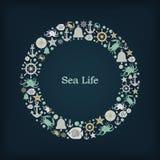 Thème nautique de cercle de logo Images libres de droits