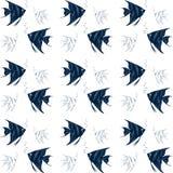 Thème nautique de tissu sans couture Composition bleue et blanche en couleur illustration de vecteur