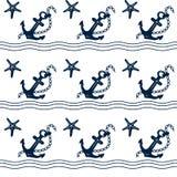 Thème nautique de tissu sans couture Image bleue d'ensemble sur le fond blanc illustration stock