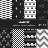 Thème nautique de tissu sans couture Images blanches d'ensemble sur un fond gris illustration de vecteur