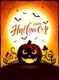 Thème orange de Halloween avec la lanterne de Jack O sur le backgroun de lune illustration stock