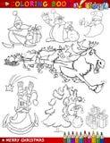 Thèmes de Noël de dessin animé pour la coloration Image libre de droits