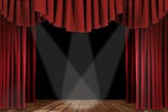 Théâtre drapé par Horozontal rouge Images libres de droits