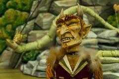 Théâtre en bois de marionnette de diable Image libre de droits