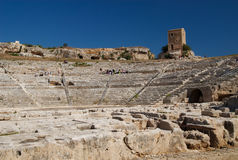 théâtre grec de l'Italie Sicile Syracuse Image libre de droits