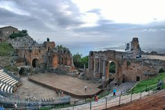 théâtre grec de taormina Photo stock