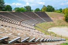 Théâtre hellénistique Dion, Pieria, Grèce Photos stock