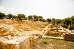 Théâtre ou arène dans la vieille ville Aptera, Crète Photos stock