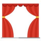 théâtre rouge d'étape d'exposition de présentation de rideau en concept Photos stock