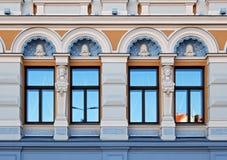 Théâtre russe Chekhova, éléments Riga de façade photos stock