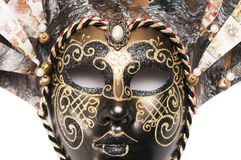 Théâtre vénitien de masque de carnaval d'isolement sur le fond blanc Photographie stock libre de droits
