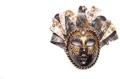 Théâtre vénitien de masque de carnaval d'isolement sur le fond blanc Photo stock