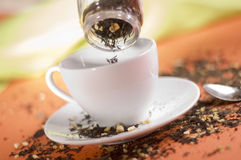 Thé avec la cuvette blanche Photo libre de droits