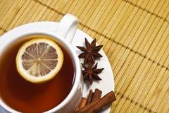 Thé avec le citron et la cannelle Photographie stock
