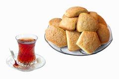 Thé avec les biscuits frais Photographie stock