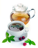 Thé avec les framboises et la menthe Image libre de droits