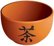Thé, caractère de kanji sur la tasse de thé Photographie stock
