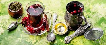 Thé chaud avec la canneberge photographie stock