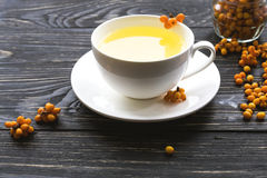 Thé chaud avec les baies fraîches d'argousier Photographie stock libre de droits