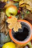 Thé chaud dans la tasse orange Photographie stock libre de droits
