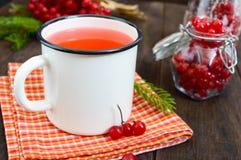 Thé chaud de baie dans une tasse blanche sur un fond en bois foncé WI de thé Images stock