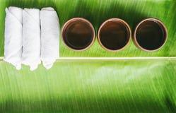 Thé chaud et serviette chaude sur la vue supérieure de feuille de fond vert de nature Photographie stock libre de droits