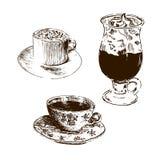 thé d'éléments de conception de café Illustration tirée par la main graphique de croquis de vecteur de tasses Vue de côté Rétro t Images stock