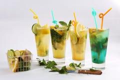 Thé d'été avec des fruits frais photographie stock