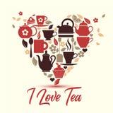 Thé d'amour d'illustration-Je de vecteur Icônes de thé au coeur illustration de vecteur
