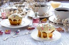 Thé d'après-midi avec des petits pains Photographie stock libre de droits