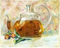 Thé d'aquarelle dans la théière Images stock