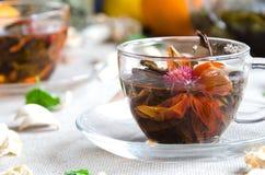 Thé d'Oolong dans des tasses en verre avec la menthe photos stock